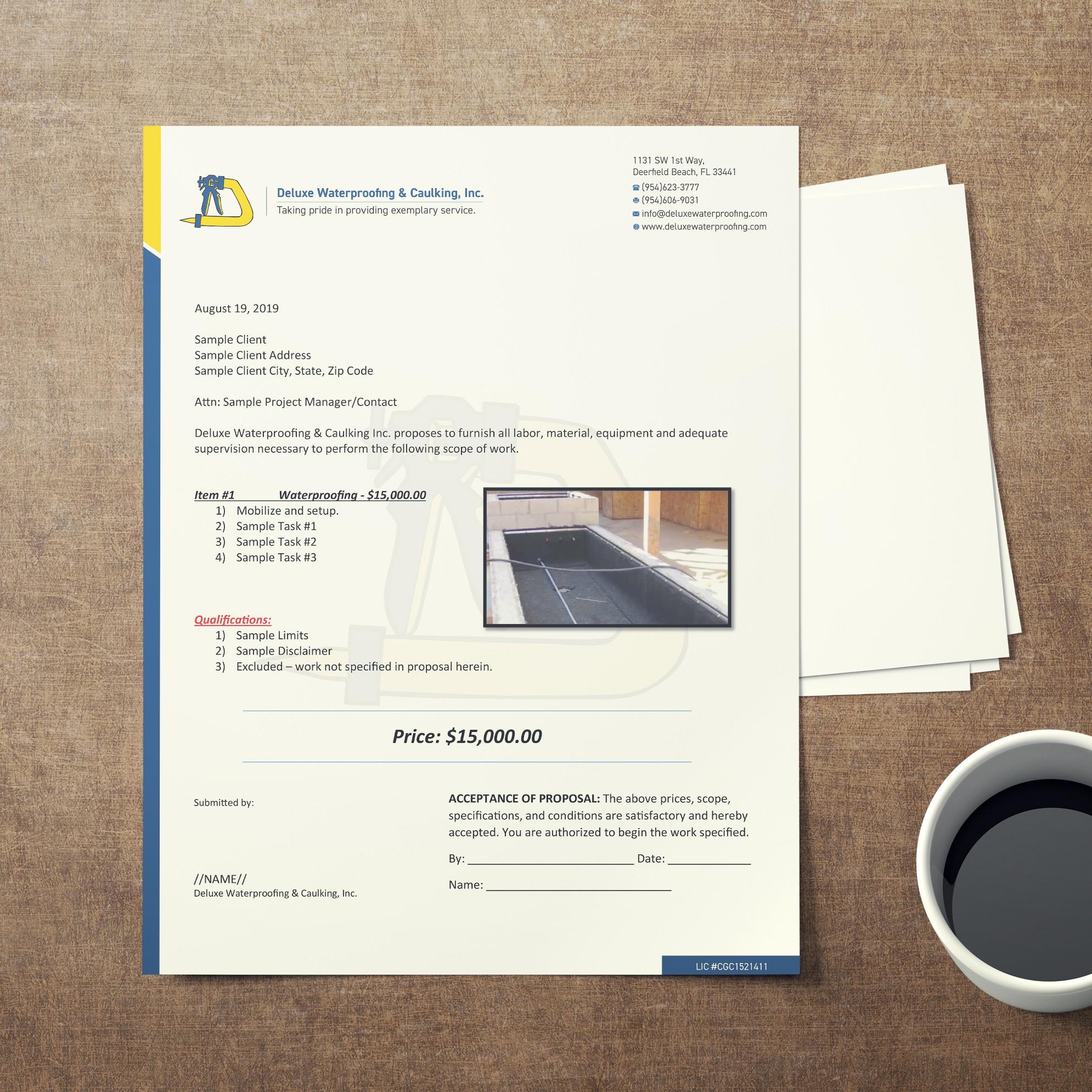 Letterhead for Waterproofing Company