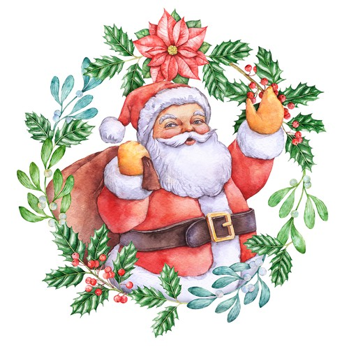 Hand-drawn watercolor illustration (Christmas theme, Santa) for Christmas cards, Christmas presents, etc.