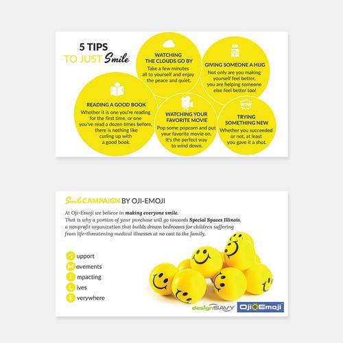Design a creative, positive card for Oji Emoji Toys