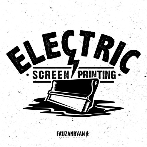Bold vintage logo concept for Electric Screen Printing