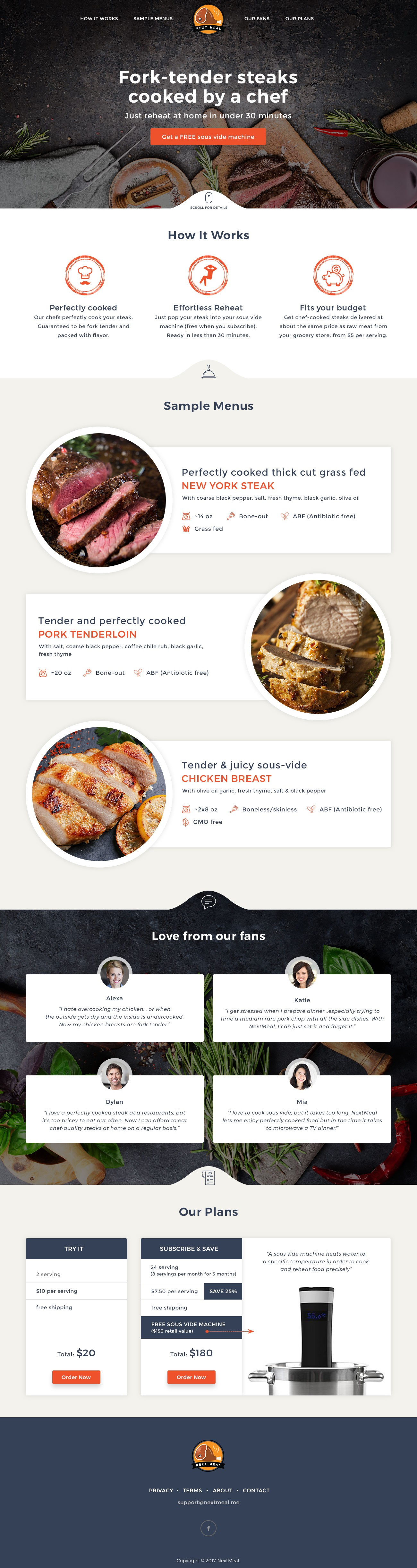 Design a compelling landing page for a new food delivery service like Blue Apron.