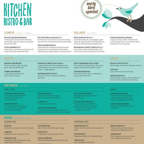 Menu design for Kitchen Bistro & Bar