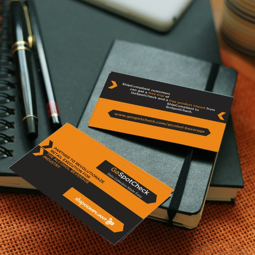 Take away card for conference to communicate partnership between two companies