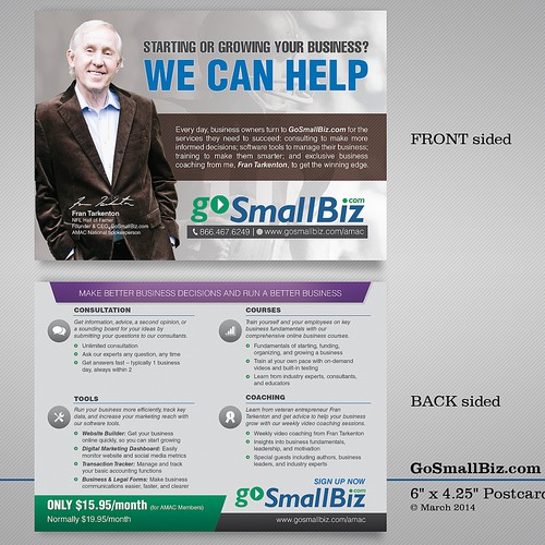 Create a double-sided mailing insert for marketing GoSmallBiz.com