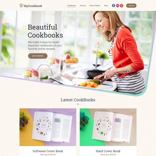 design wntry for coocking book landing page