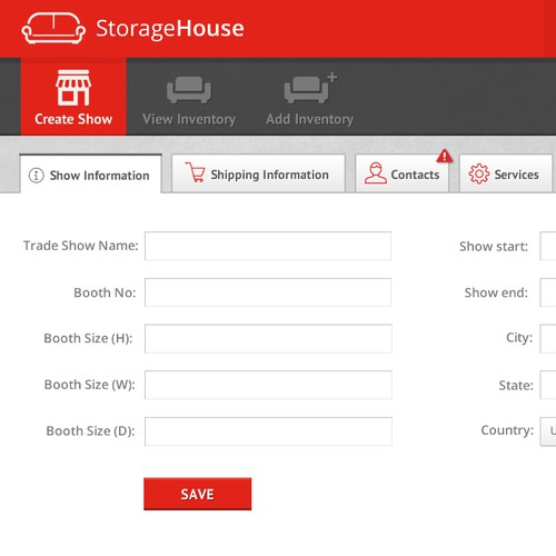 Web Application design for StorageHouse