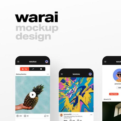 App Design for Warai, an anonymous Social Media Platform