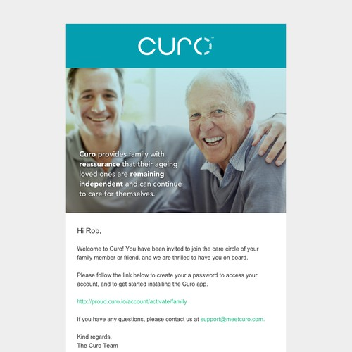 Simple email newsletter design for Curo