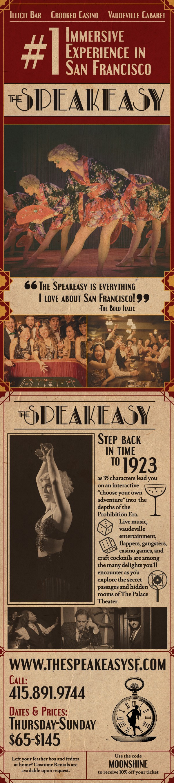 Design a 1920's secretive rack card for The Speakeasy in San Francisco