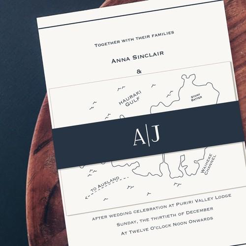 Minimalist Wedding Invite Design With Island Map