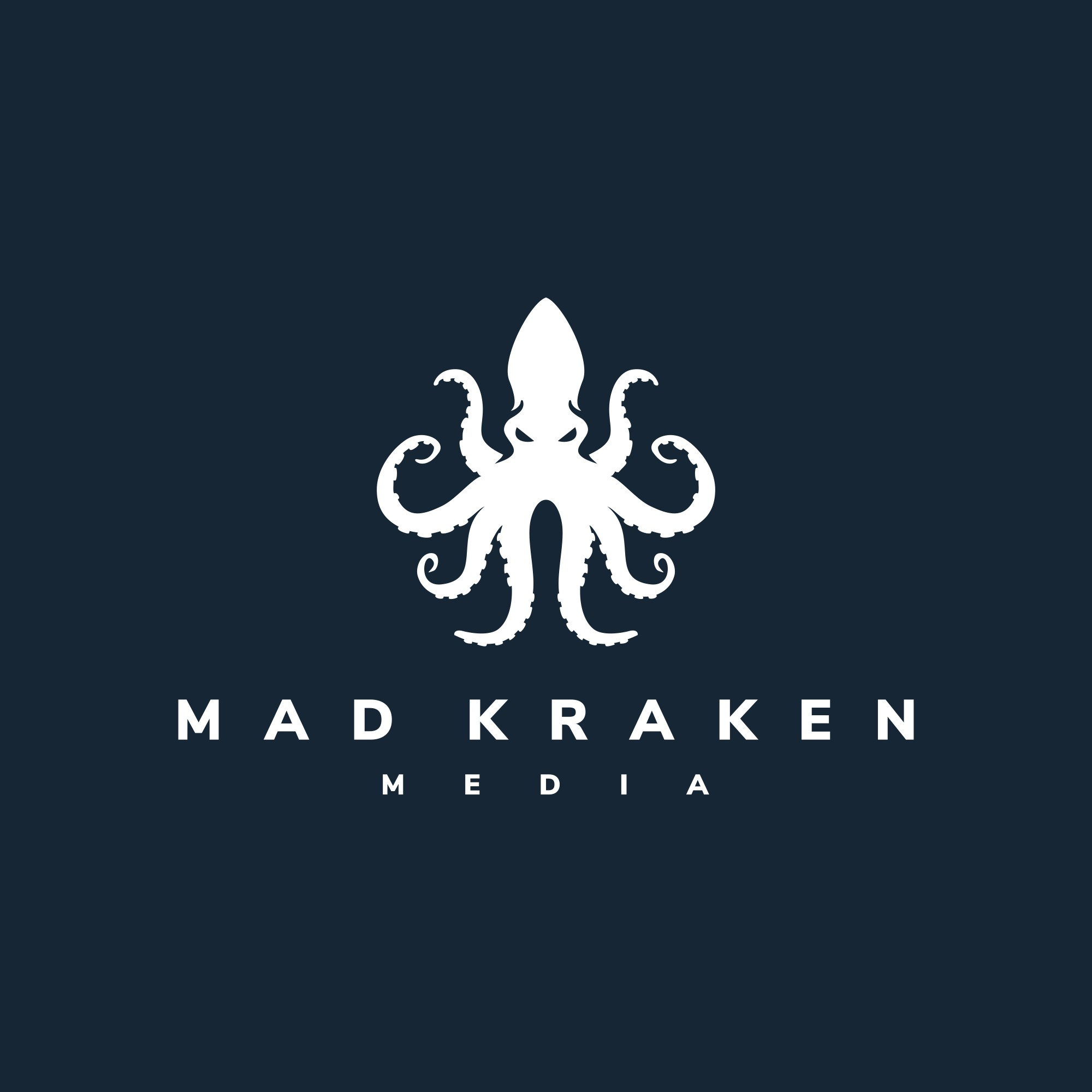 Crazy sea monster logo for a media company
