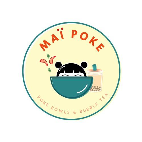 logo for poke bowl and bubble tea