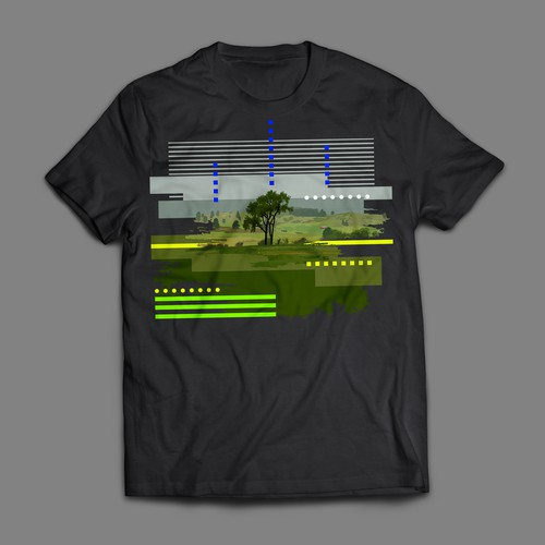 Artistic interpretation of landscape photo for tshirt