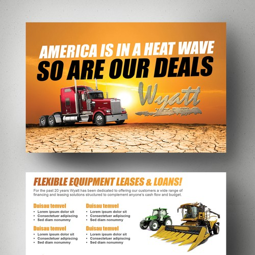 Create an attention grabbing and polished mailer for Wyatt Leasing LLC