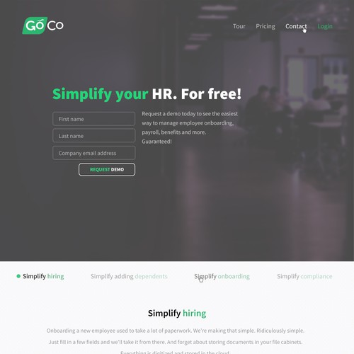 Clean homepage design for a tech company