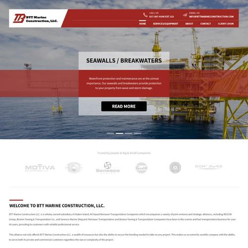 Homepage design for BTT Marine Construction
