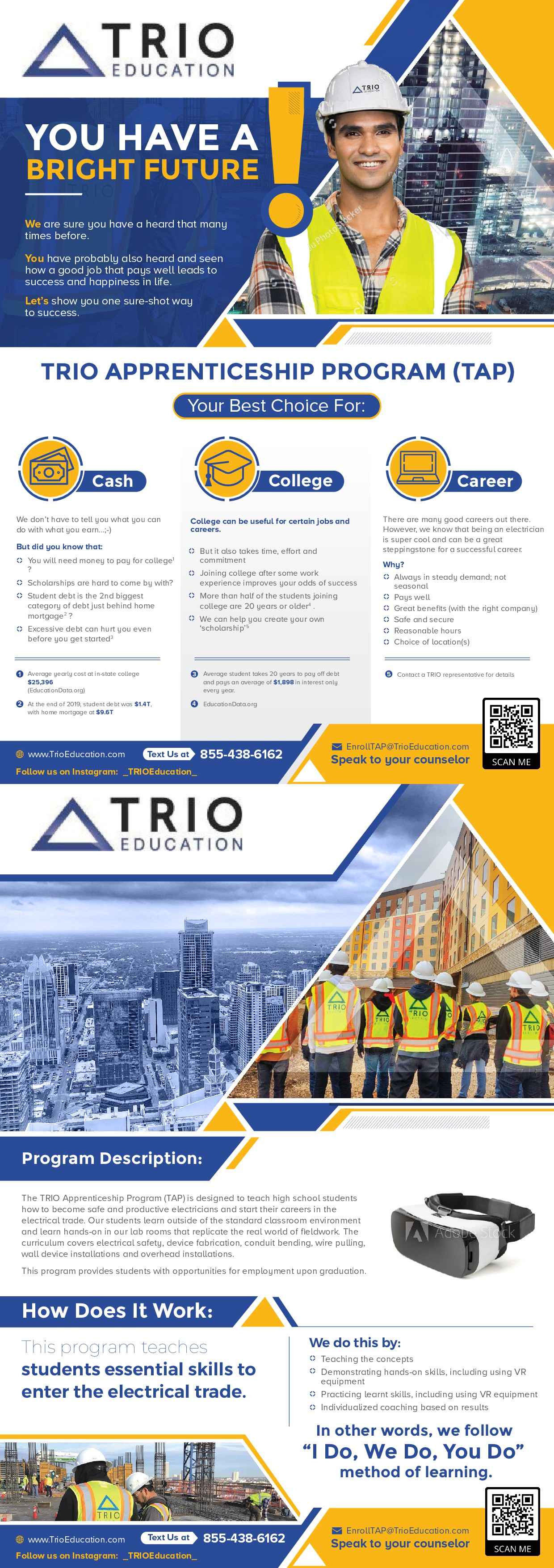 Leaflets to attract high school students to apprentice program AND graduates of the program to TRIO.