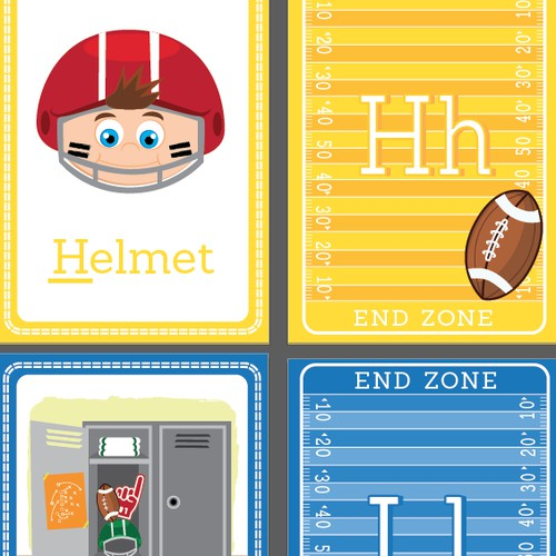 ABC toddler flashcard with American Football themed illustration