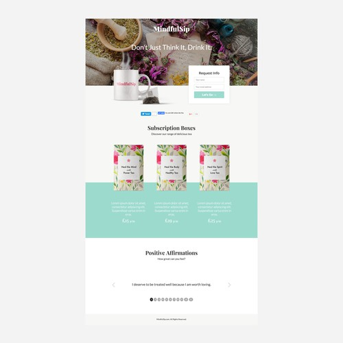 Landing page for monthly tea subscription