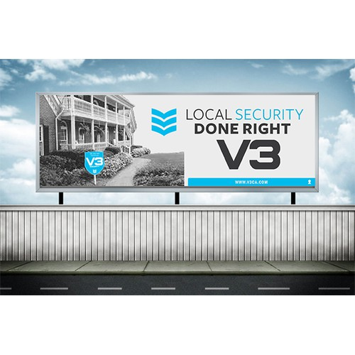 Design a stand-out billboard for V3 Security