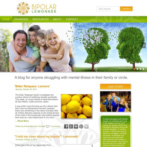 Warm and engaging website/blog for Bipolar Lemonade