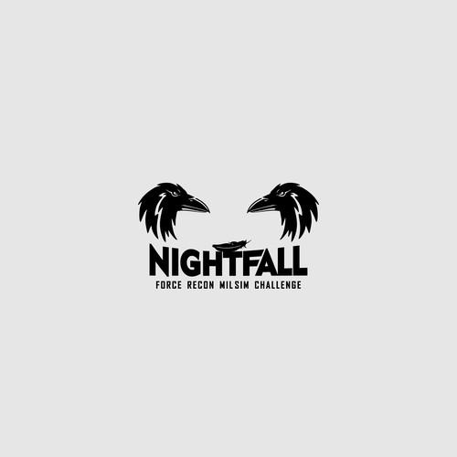 bold clean logo, night fall