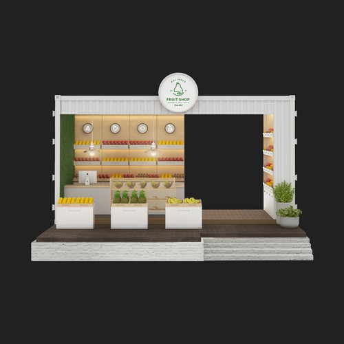 3d kiosk design fruit shop
