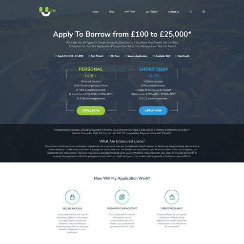 Website design for a Loan Website Design