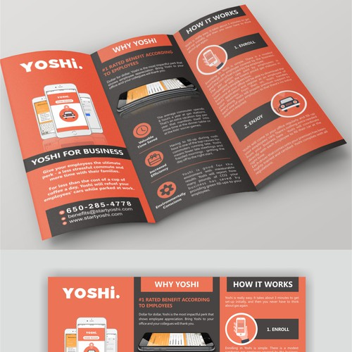 Creating a brochure for Yoshi - a car gas delivery service