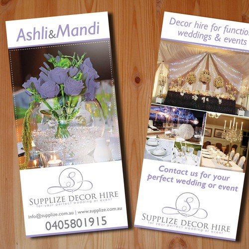 postcard or flyer for Supplize Decor Hire