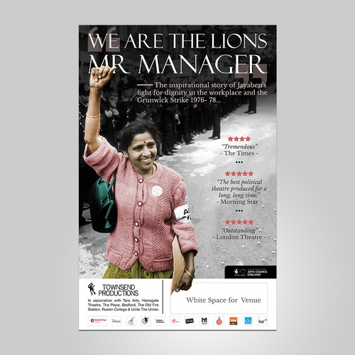 Poster Design -national touring theatre -inspirational leader Jayaben Desai and The Grunwick Strike