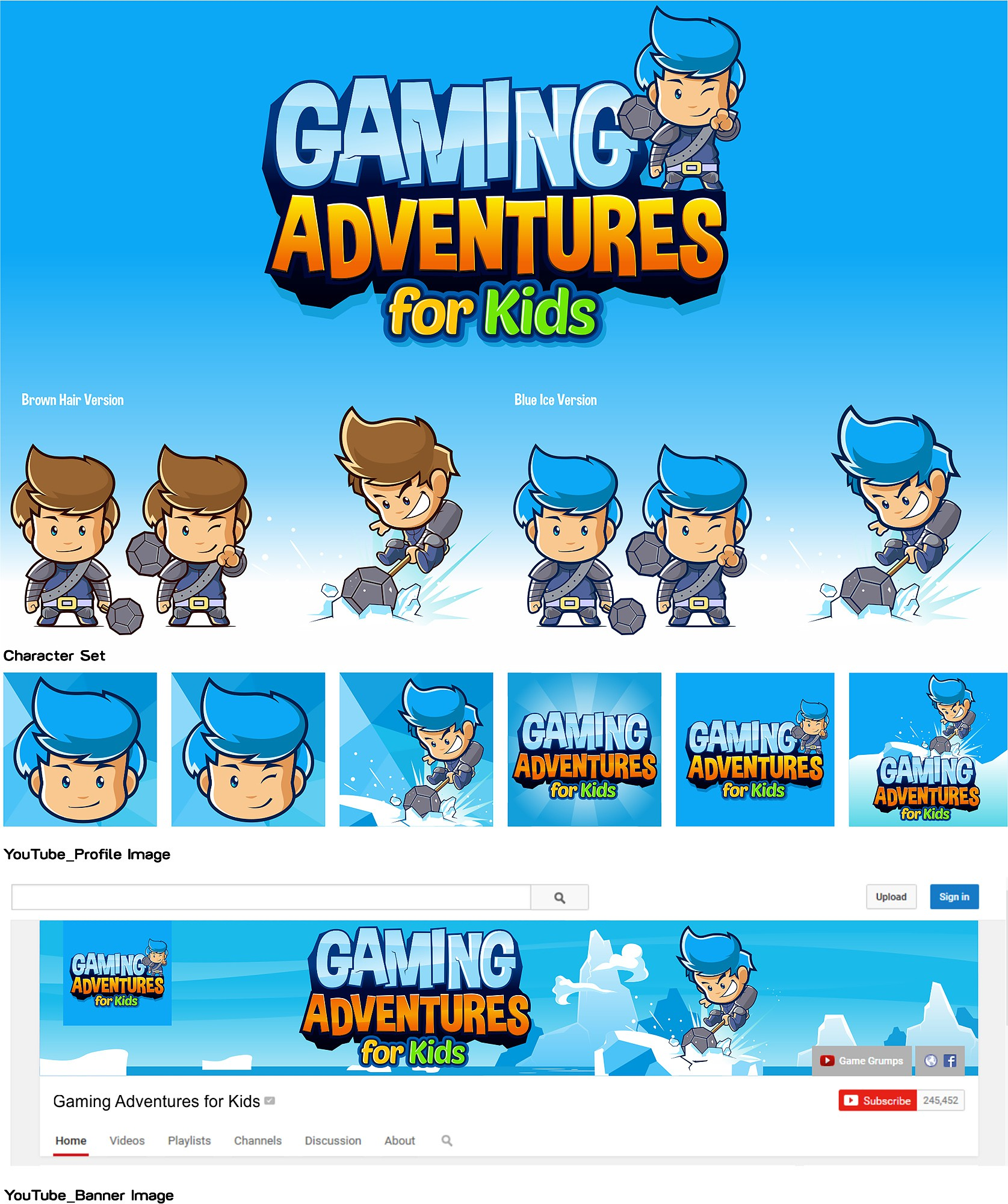 Create You Tube Channel Art for a video game channel for kids!!!!!  This should be fun!!!!