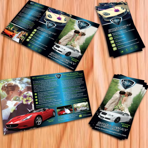 Cutting Edge Leaflet to promote Exotic Cars for Weddings