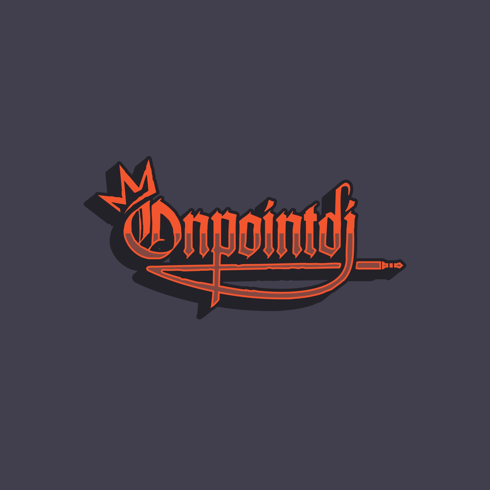 """Edgy, loud, typography logo that has an element of design reads """"ONPOINT""""(no record players) that's youthful & Sophistic"""