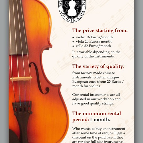 Violinmakers in the Hague need a flyer for rental instruments!