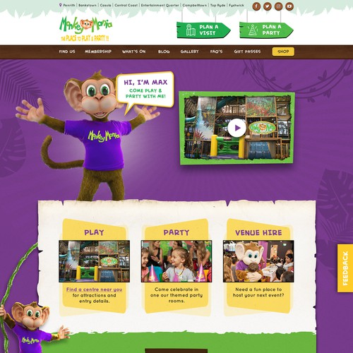 Fun, Creative and Jungle inspired web page design for children indoor play centre