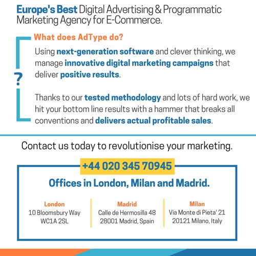 Magazine advertisement for digital advertising firm