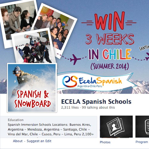 Facebook Cover:  ECELA Snowboard & Spanish