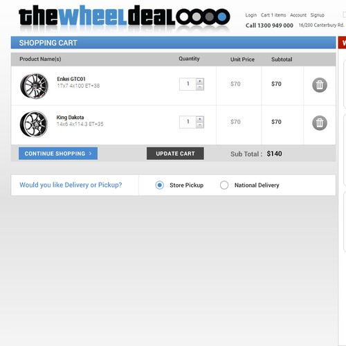 Create an intuitive checkout for The Wheel Deal with potential for future projects