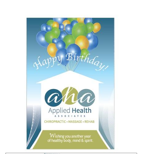 Birthday postcard with new branding for chiropractic/massage office!