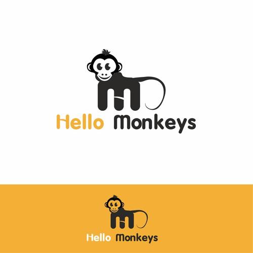 """logo con lettere H ed M  che formano il marchio""""monkeys"""", positivo su negativo"""