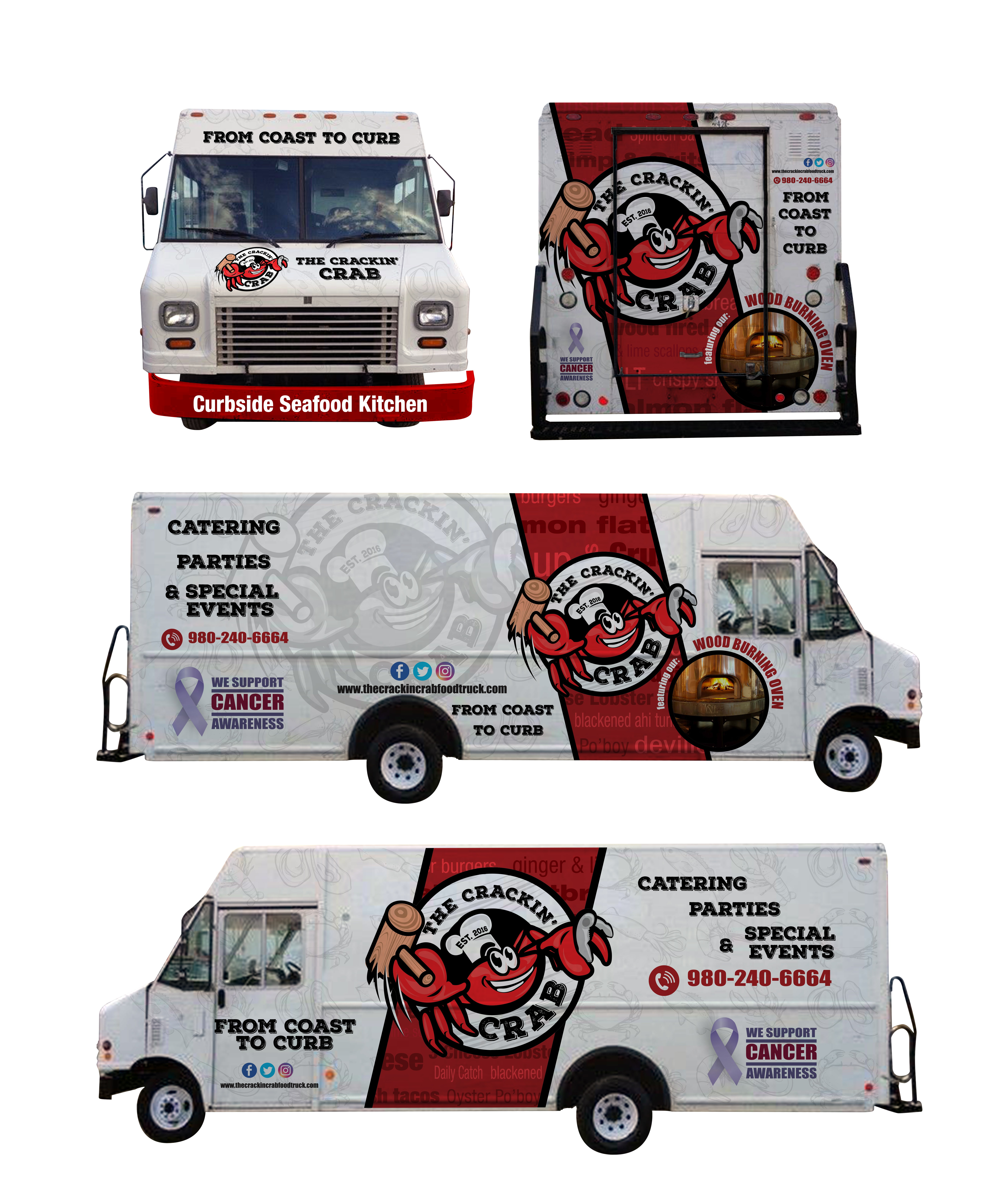 The Crackin Crab food truck is in need of a badass logo and truck wrap design