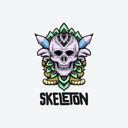 skeleton logo concept.