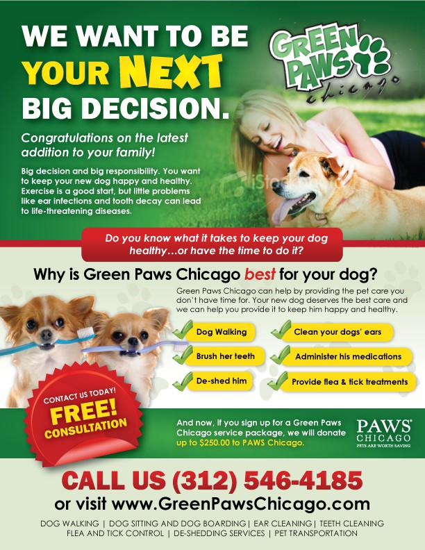 Green Paws Chicago LLC needs a new postcard or flyer