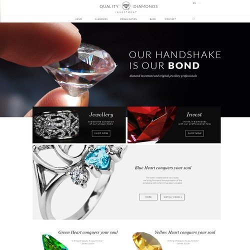 Clean jewellery and diamonds website