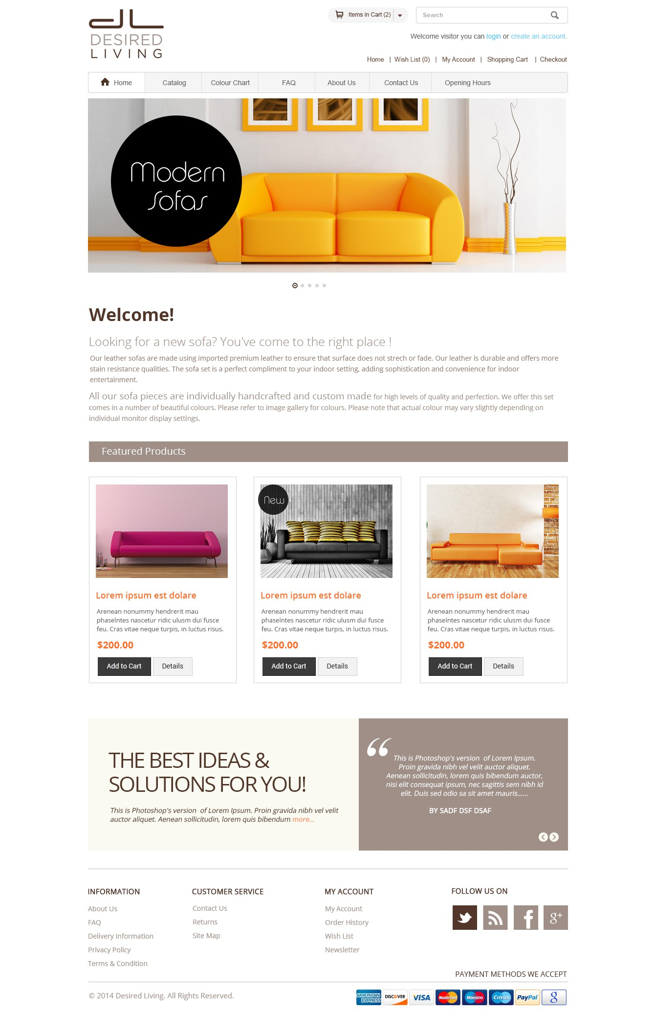 Create shopping site for an upmarket sofa brand