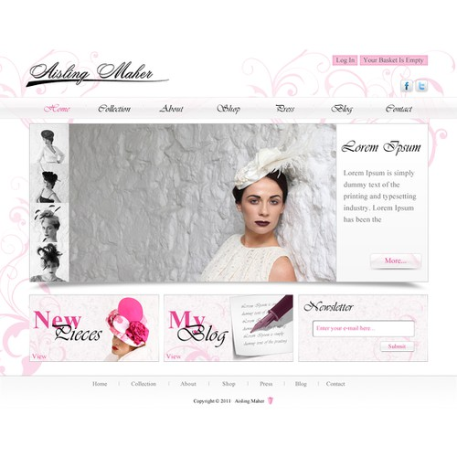 website design for www.aislingmaher.com