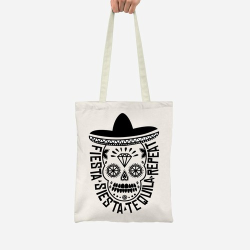 FIESTA - SIESTA - TEQUILA - REPEAT TOTE BAG DESIGN