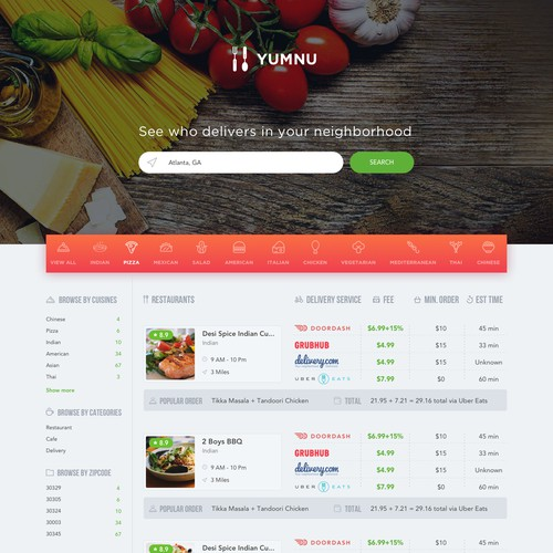 Restaurant and Food Delivery Comparison Site
