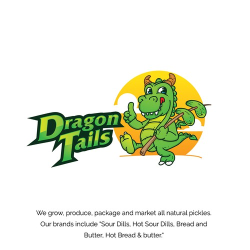 logo and character design for dragon tails